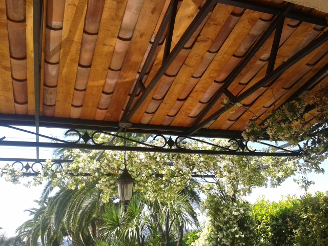 (English) Provencal Tiles Wrought Iron Pergola