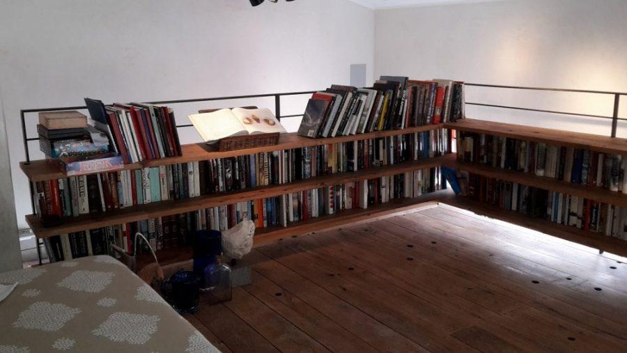 Metal and vintage oak mezzanine bookshelf