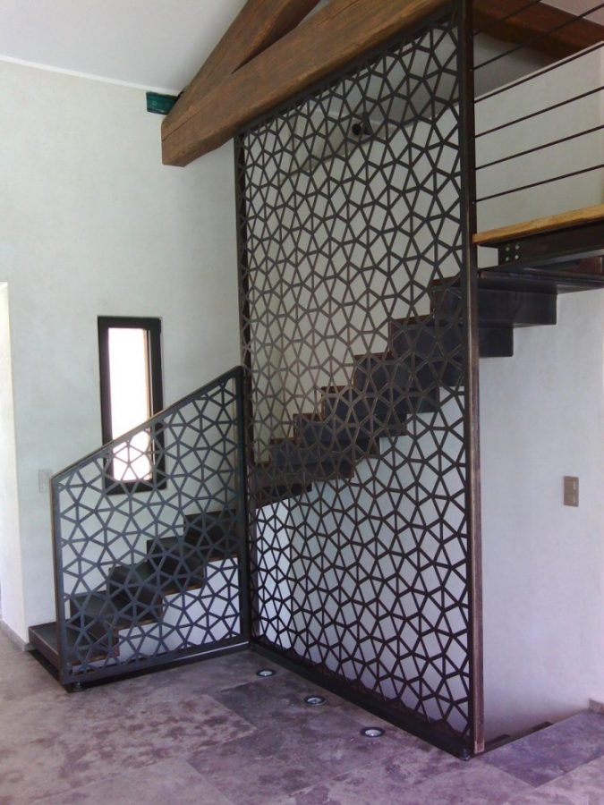 Steel and oak mezzanine, floating staircase with laser-cut panel, pergola and custom furniture project in Saint-Tropez