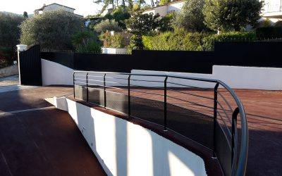 Modern driveway guardrail, privacy fence & gate, interior stair & custom tables in Mougins